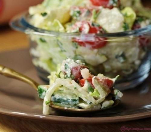 салат с сырно - горчичной заправкой