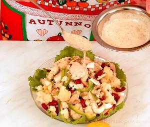 Салат из цветной капусты с шампиньонами и фасолью