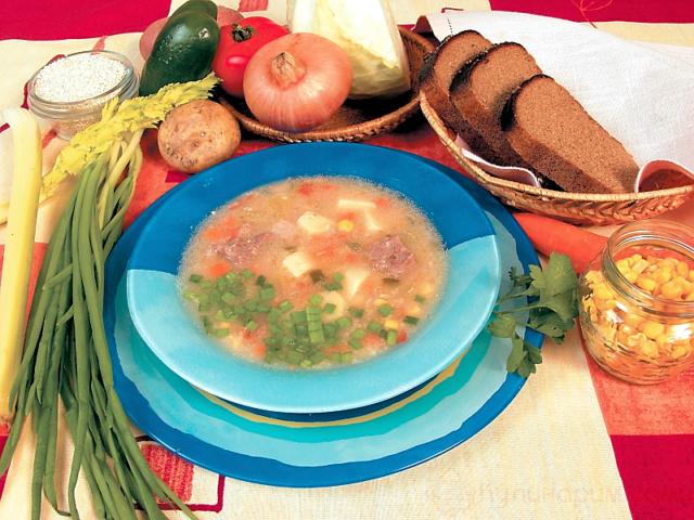 Суп из баранины с ячневой крупой, морковью и луком