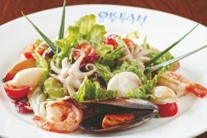 Постный салатик из кальмаров
