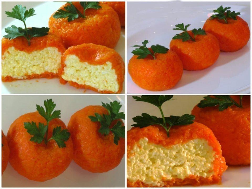 Рецепты на новый год. Сырная закуска мандаринки