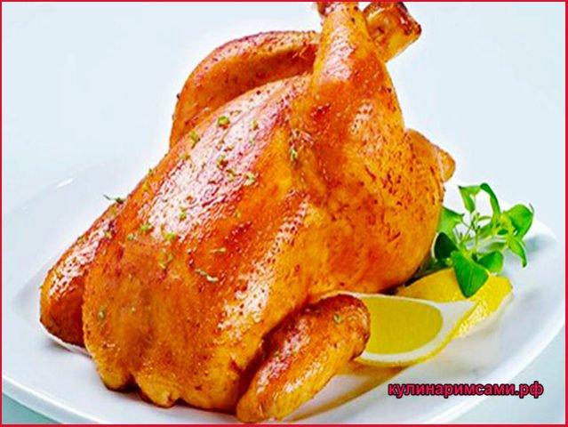 Курица, запеченная в духовке на соли
