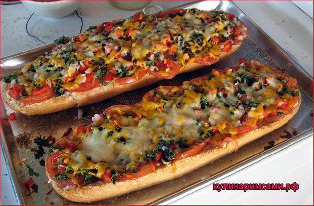 Самая ленивая пицца на батоне