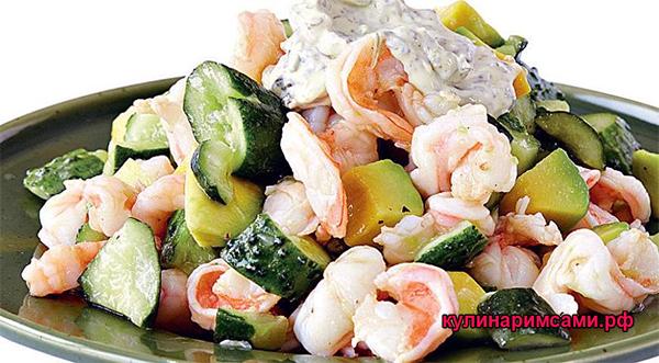 Тайский салат с креветками и огурцами