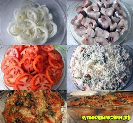 Минтай запечённый с помидорами и сыром