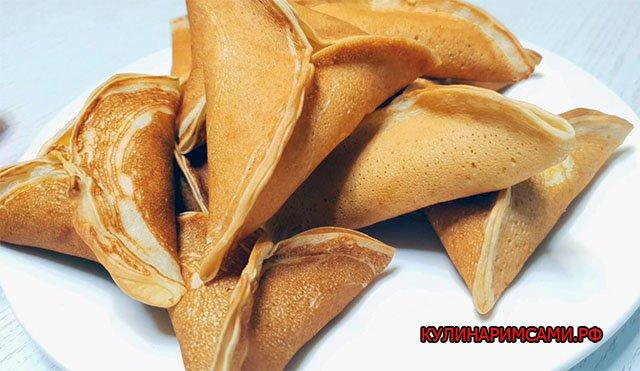 Блинчики «Треуголки» с грибами и сыром